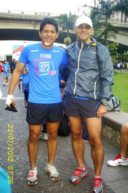 Ismael Paulo Santos e Eduardo Acacio na corrida Samsung Hope Relay 10K