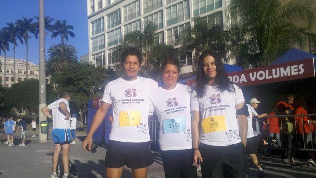 Eu, Sonia e o Fernando na 1ª Corrida e caminhada Nipo Brasileira