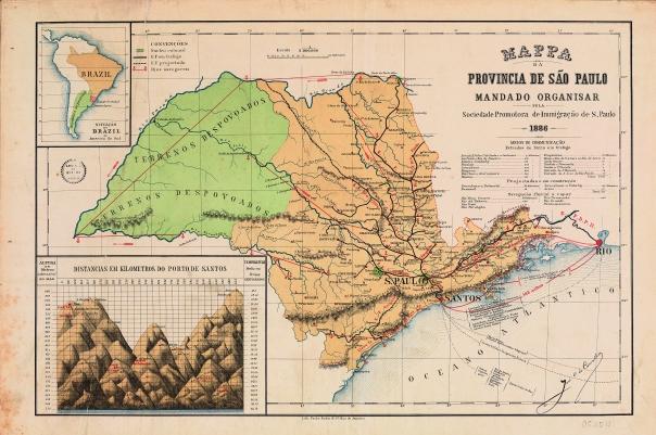 O mapa de registra o noroeste de São Paulo