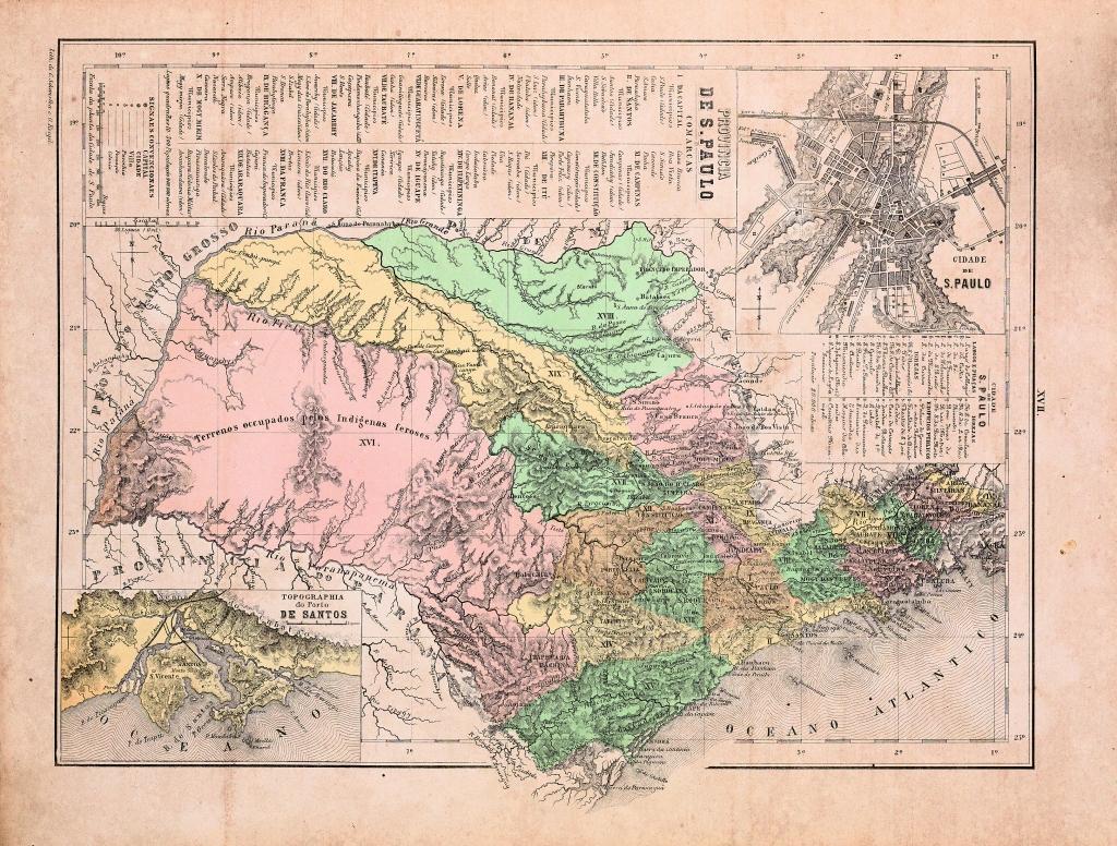 O mapa de 1868 registra o salto de Itapura